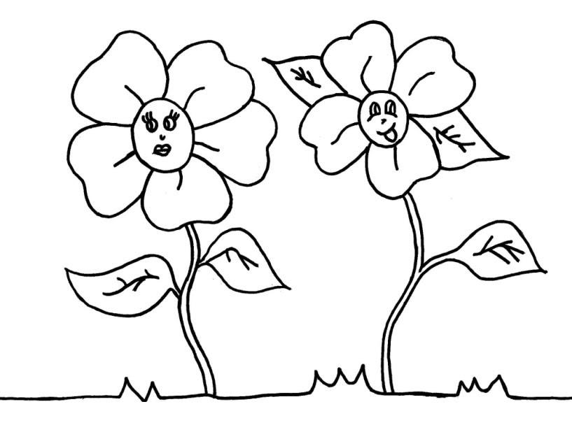 Dibujos De Flor Sonriente Para Colorear