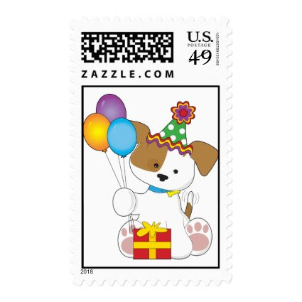 Cute Puppy Birthday Postage Stamps