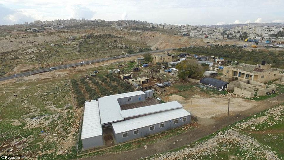 Established: An unauthorised Palestinian settlement which was built on Israeli land with EU funding