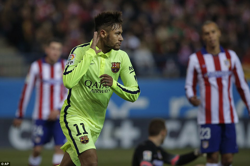 Neymar silences the Vicente Calderon after firing Barcelona 3-2 up on the night against Atletico Madrid in the Copa del Rey