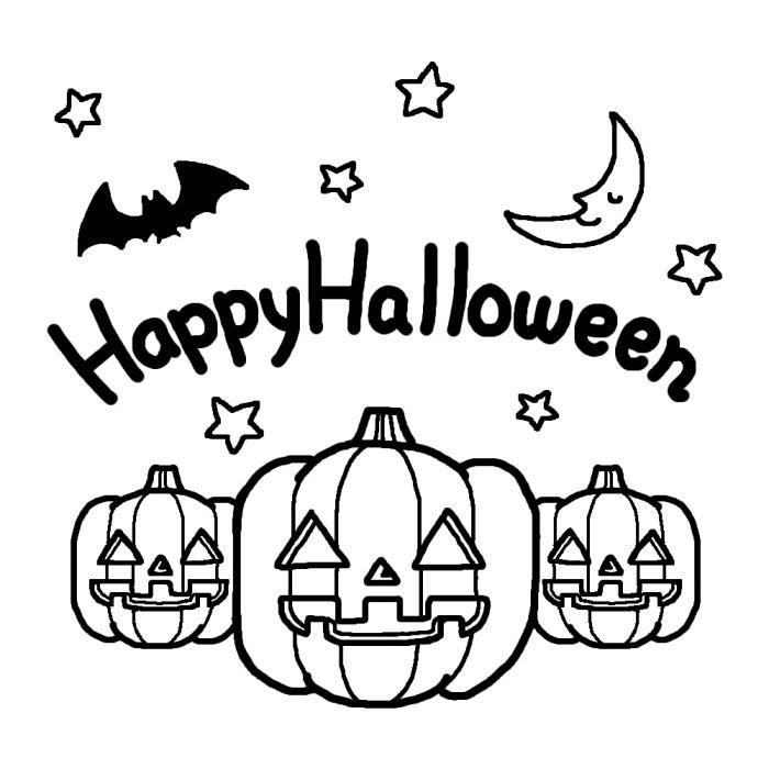 おばけカボチャ白黒ハロウィンの無料イラスト秋の季節行事素材
