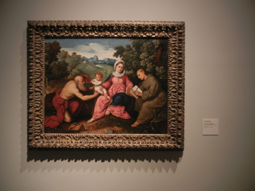 DSCN7982 _ Madonna and Child with Saints Jerome and Francis, c. 1525, Paris Bordone (1500-1571), LACMA