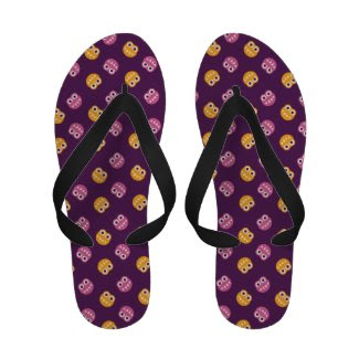 Pink Orange And Purple Cute Bugs Flip-Flops