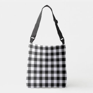 All-Over-Print Black and White Gingham Pattern Tote Bag