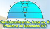 Problema de Geometría 927 (English ESL): Semicircunferencia, Diámetro, Radio, Cuerda, Arcos Iguales