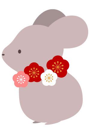 シンプルかわいい梅の花と鼠のイラスト年賀状無料