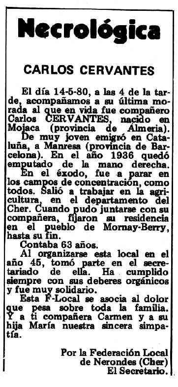 """Necrològica de Carlos Cervantes Vicente apareguda en el periòdic tolosà """"Espoir"""" del 22 de juny de 1980"""
