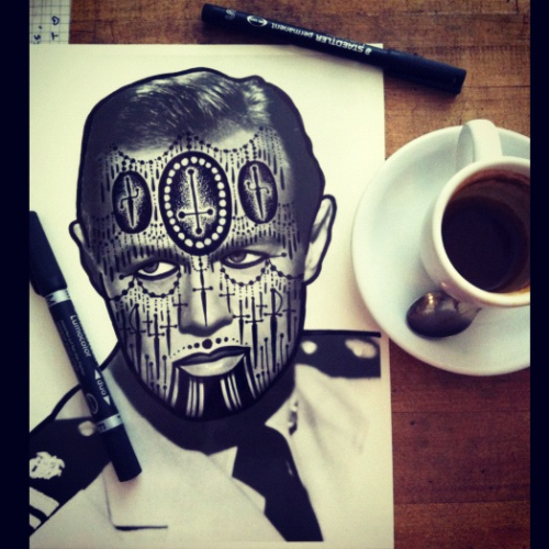 My mornings, coffee and markers.