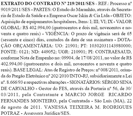 Extrato do contrato entre a Secretaria de Saúde do Estado e a Oscar Iskin & Cia Ltda. Foto: Reprodução / Diário Oficial do Estado do Maranhão