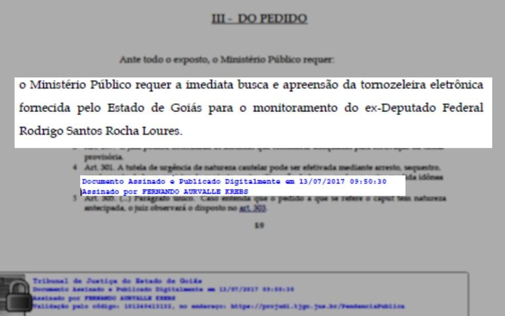Ação que pede busca e apreensão de tornozeleira foi pedida nesta quinta-feira (Foto: Divulgação/MP-GO)