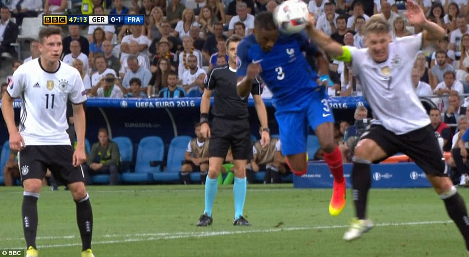 Schweinsteiger lead with his hand as he tried to beat Evra to a cross and handballed in the penalty area