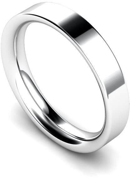 4mm Platinum Heavy Weight Flat Court Wedding Ring