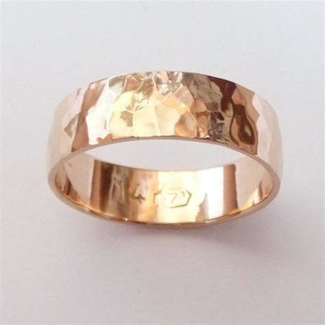 men rose gold wedding band hammered wedding ring mm wide