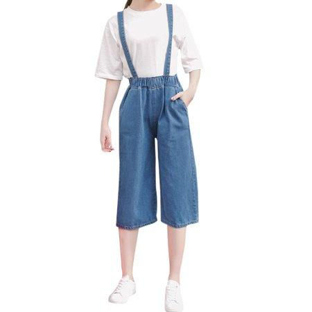 Women's Elastic Waist Pockets Wide Legs Capris Overalls Blue (Size S \/ 4)