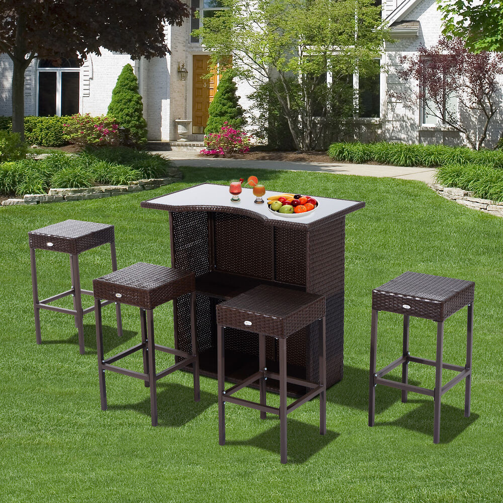 Outsunny Rattan Bar Set 5pc Dining Table Barstool Outdoor ...