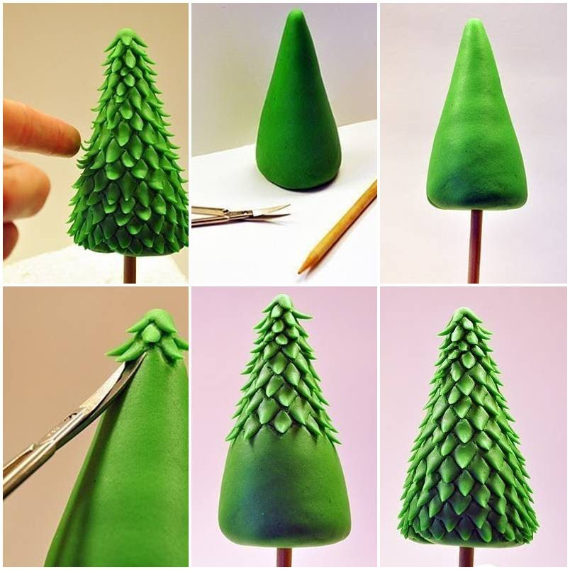 How to make Clay Christmas Tree step by step DIY tutorial instructions