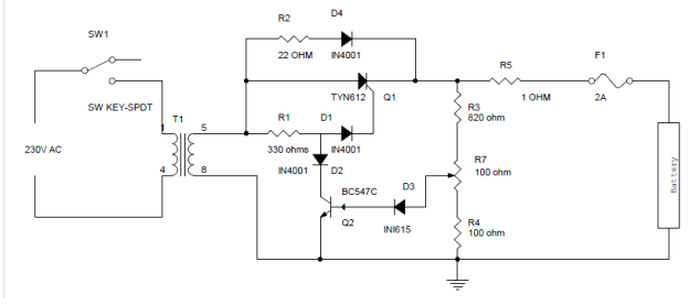 Circuit Diagram of Battery Charger Using SCR