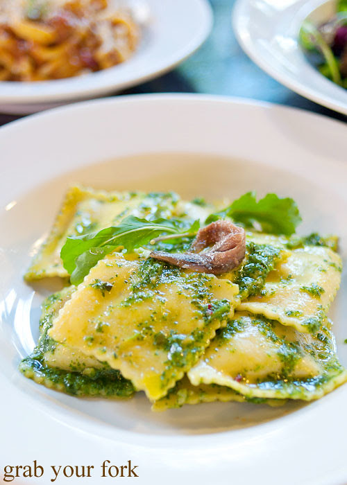 kale flower pecorino and potato tortelli at pasta emilia surry hills