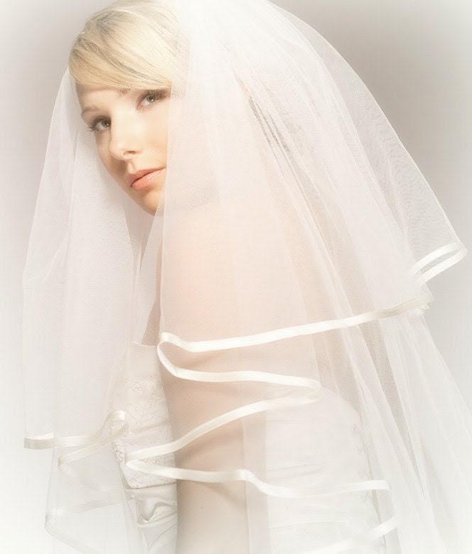 Weddings, Bridal Two Layered Veil. Handmade Bridal Ivory Tulle Veil with Ivory Satin Edge. - EllaGajewskaBRIDAL