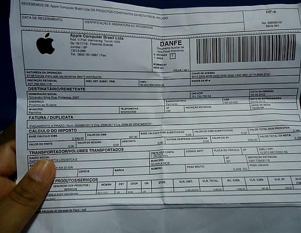 Nota fiscal do produto foi comprado em loja online da empresa (Foto: Arquivo Pessoal)