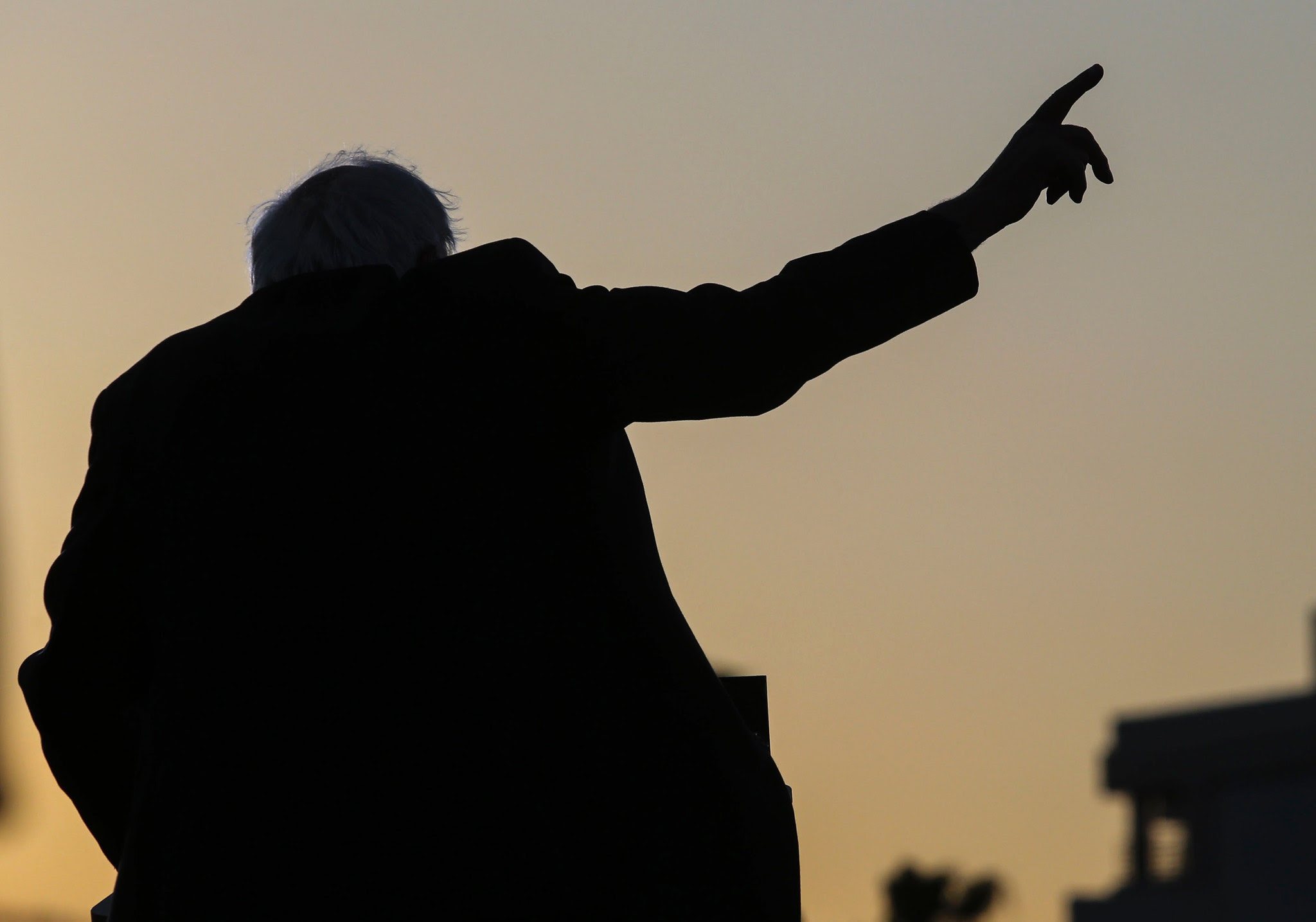 TOPSHOT - US Democratic presidential candidate Bernie Sanders speaks during a rally at Santa Monica High School Football Field in Santa Monica, California, on May 23, 2016. Democratic presidential frontrunner Hillary Clinton on May 23 rejected an invitation to take part in a final campaign debate against her rival Bernie Sanders, her campaign said. / AFP PHOTO / Ringo ChiuRINGO CHIU/AFP/Getty Images