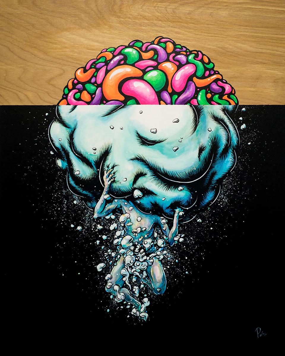 Sink or Swim 20x16 acrylic on birch panel original painting