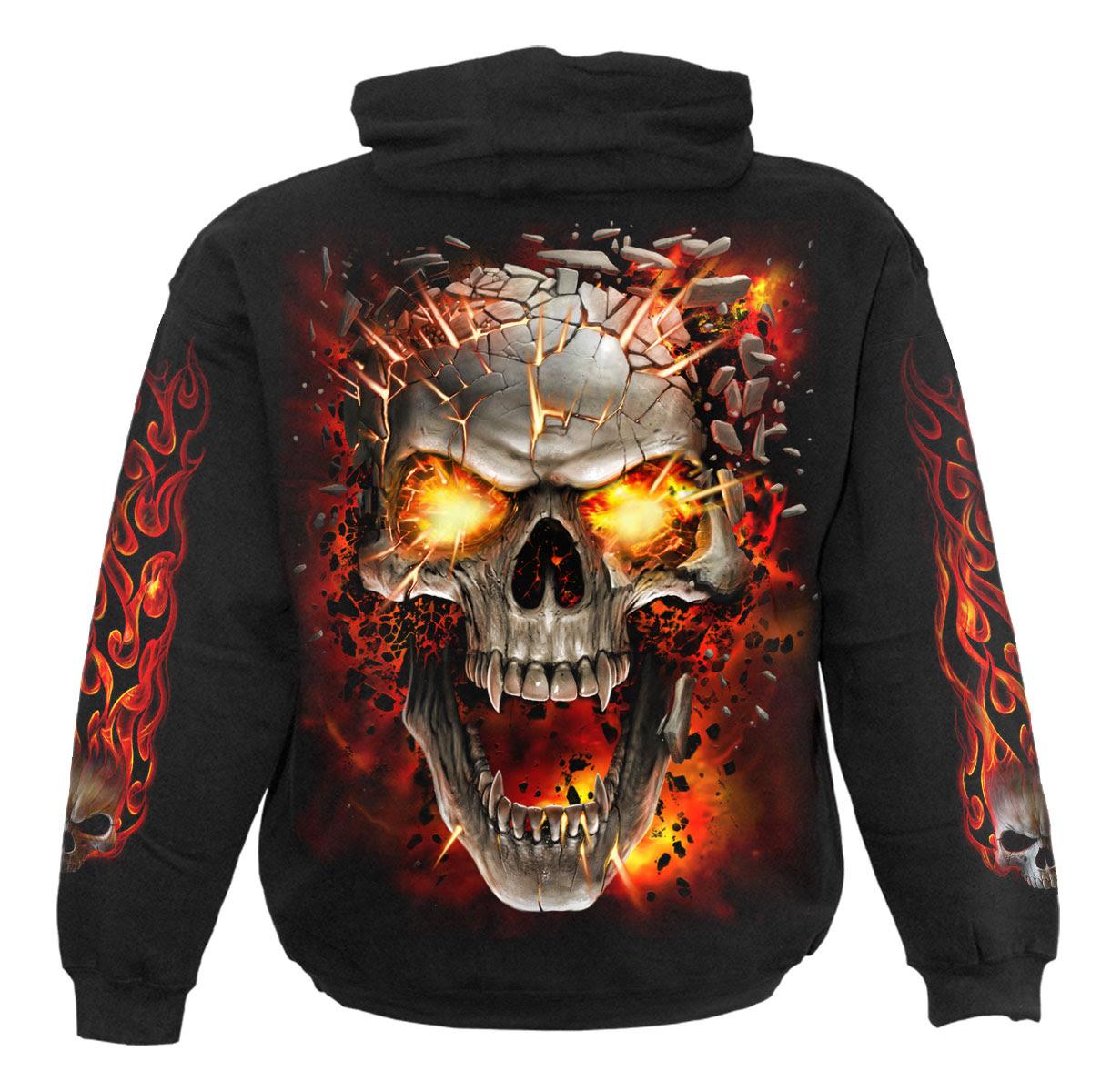 Spiral Skull Blast Hoody Blackskullsflameshorrordeath Ebay