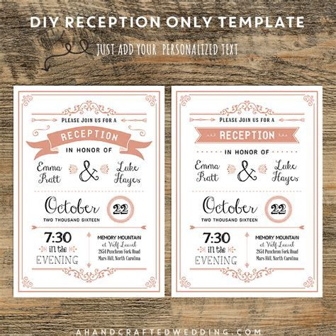 Coral DIY Reception Only Invitation   ahandcraftedwedding