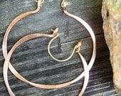 Copper Hoop Earrings Medium Size Sexy Lightweight