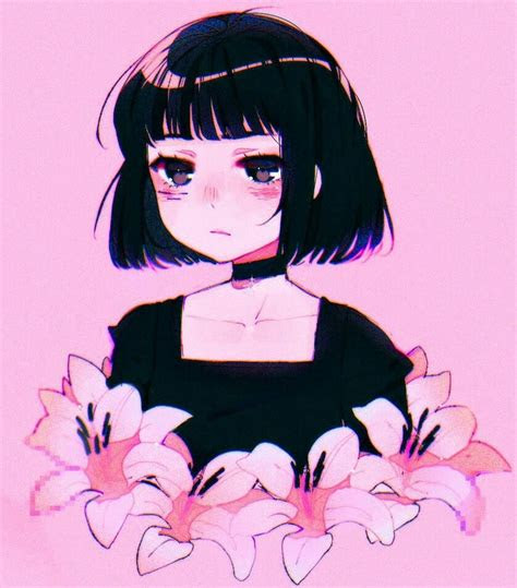 flowers plant hair girl reference anime arte