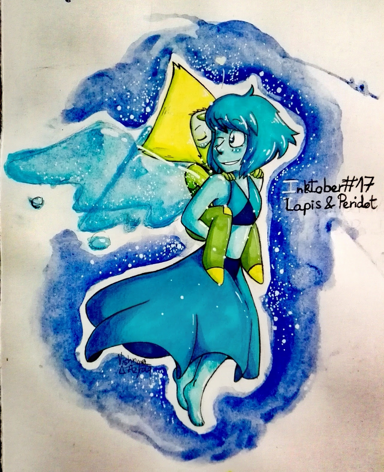 The 17th drawing, with our beloved gems Lapis and Peridot 8D ! Sunday was a good day for us Lapidot shippers so drawing them was pretty much obvious after that hehehehehe Expect more ships from me...