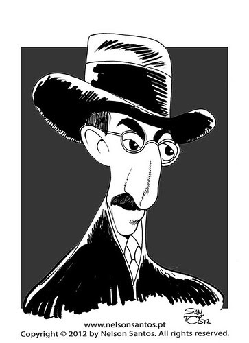 fernando-pessoa-caricature-by-nelson-santos by caricaturas