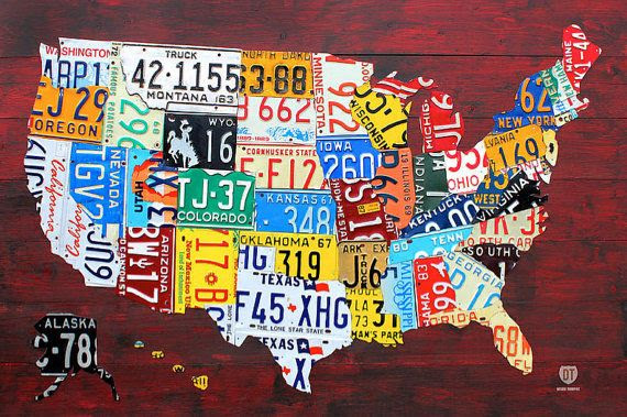 "License Plate Map of the United States USA 36"" x 24"" Poster - $19 - Best Budget Option!"