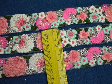 """1.2"""" Fancy Wholesale Peach And Gold Embroidery Trim By 9"""