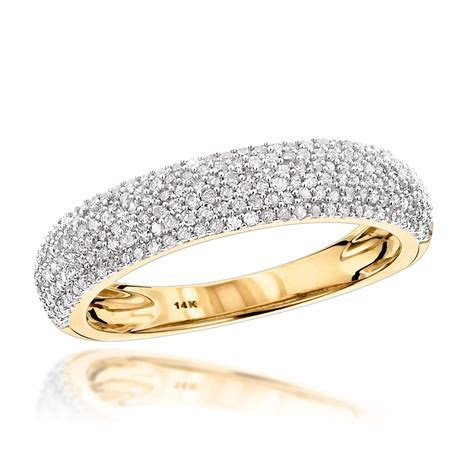 Thin 14K Gold Micro Pave Diamond Wedding Band for Women 0.5ct