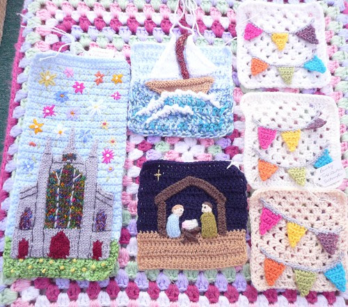 Tinaspice. Squares for our Jersey Textile Showcase Challenge. Thank you very much. Superb!
