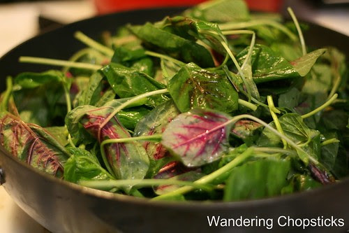 Rau Den Xao Chao (Vietnamese Amaranth  Chinese Red Spinach Sauteed with Fermented Bean Curd) 5