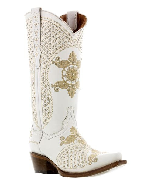 womens white bridal leather western cowboy wedding boots