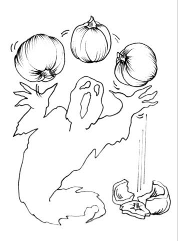 Dibujo De Fantasma Con Calabazas De Halloween Para Colorear