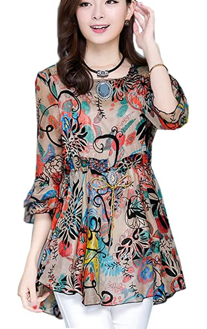 NEW ARRIVAL FLORAL DRESS FLOUNCING TOP BLOUSES AND TUNIC SHIRTS FOR LADIES