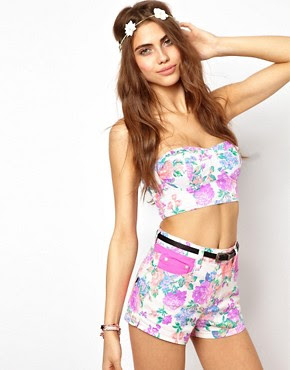 Image 1 of Minkpink Electric Field Bustier in Fluro Floral