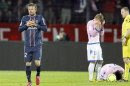Beckham of Paris St-Germain gestures after receiving a red card during their French Ligue 1 soccer match against Evian Thonon Gaillard in Annecy