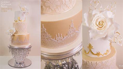 Golden Damask Rose Wedding Cake   Online Cake Decorating