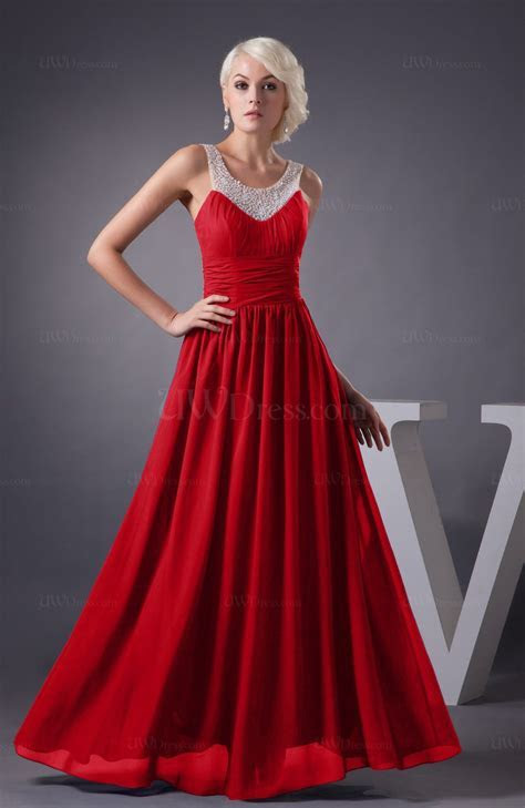 Red Chiffon Bridesmaid Dress Country Chic Summer Simple