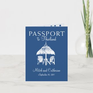 Wedding Passport Invitation to Thailand card