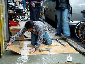 Ceramic tiles flooring in Istanbul street