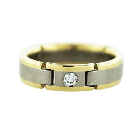 18K Two Tone Gold Men's Diamond Wedding Band Boca Raton