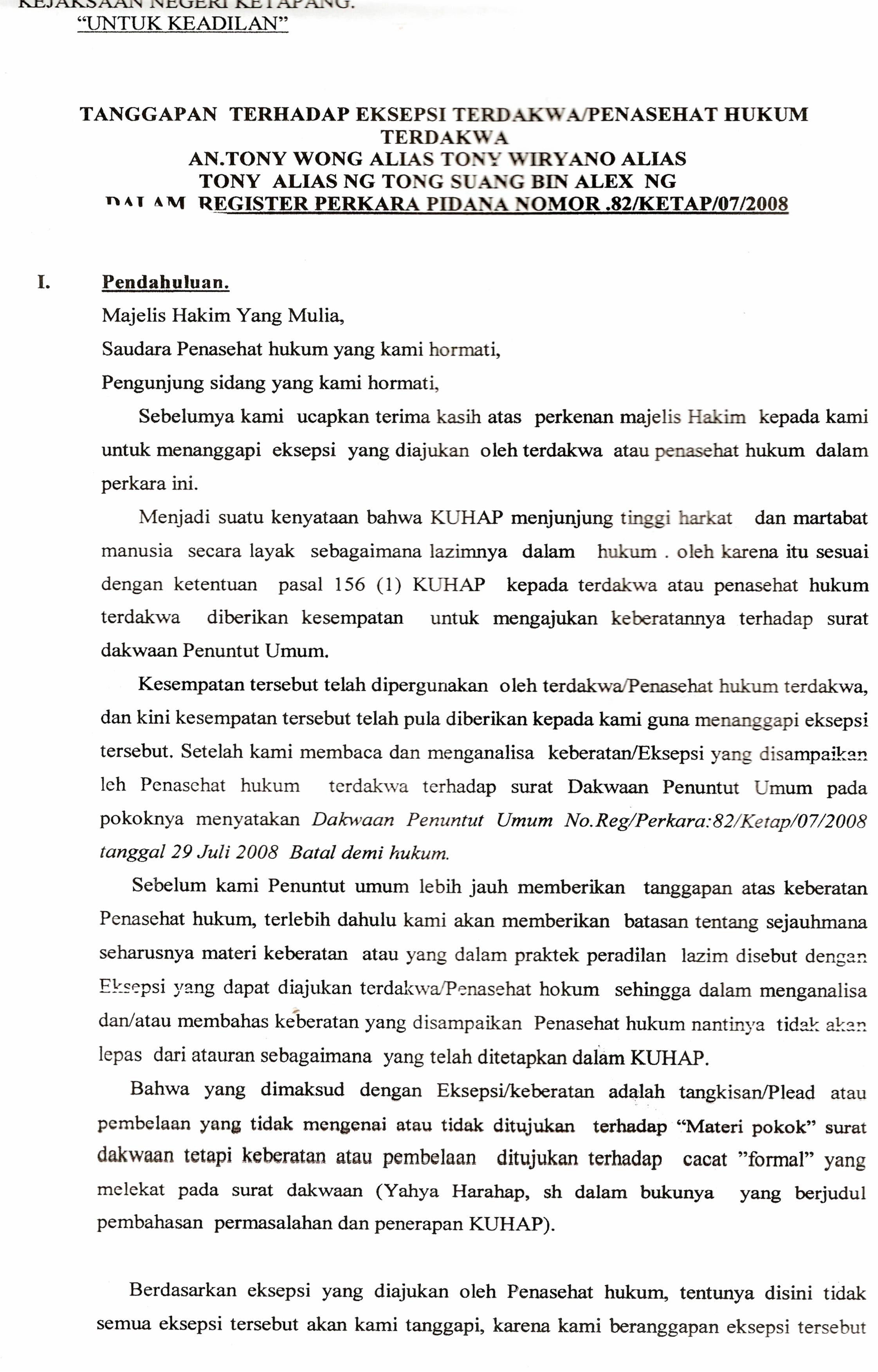 Syarat Surat Dakwaan Batal Demi Hukum