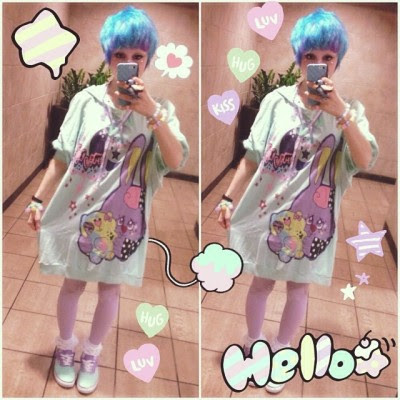 kurokosmilkythighs:  Outfit for tonight!! Original plans fell through but I was so excited to wear my new #milklim stuff I just wore it anyway! 🌸💞🌈🌟💕✨ #fairykei #me #outfits  literally dead bc you're so cute wow