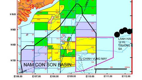Bản đồ phân lô dầu khí ngoài khơi Việt Nam